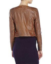 Raison D'etre - Brown Ramone Faux Leather Crop Jacket - Lyst
