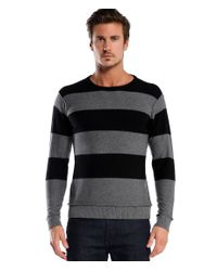 Michael Stars | Black Cashmere Blend Stripe Crew Neck Sweater for Men | Lyst