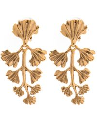 Oscar de la Renta | Metallic Gold-plated Fern Earrings | Lyst