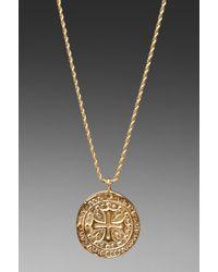 Kenneth Jay Lane - Metallic Gold Cross Medallion Necklace - Lyst