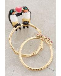 Les Nereides | Metallic Lovebird Ring Set | Lyst
