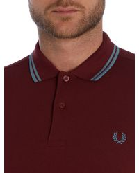 Stussy - Red Twin Tipped Slim Fit Polo Shirt for Men - Lyst