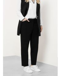 Violeta by Mango - Black Cotton Trousers - Lyst