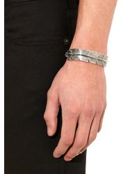 Saint Laurent - Metallic Feather Sterling-Silver Bracelet for Men - Lyst