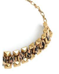 Ela Stone - Metallic Rowina Leopard Print Fabric Stud Bracelet - Lyst