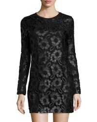French Connection - Black Long-sleeve Faux-leather Daisy-print Dress W/lace Overlay - Lyst