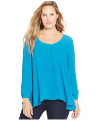 Style & Co. | Blue Plus Size Relaxed Chiffon Blouse | Lyst