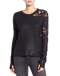 Pam & Gela | Black Lace Inset Sweatshirt | Lyst