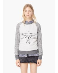 Mango | Multicolor Message Cotton Sweatshirt | Lyst