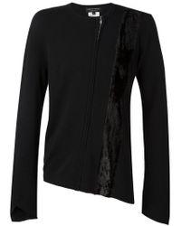 Comme des Garçons - Black Velvet Panel Zipped Cardigan for Men - Lyst