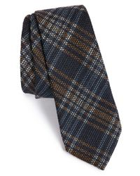 Z Zegna - Blue Plaid Wool & Silk Tie for Men - Lyst