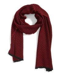 The Kooples - Red Herringbone Scarf for Men - Lyst