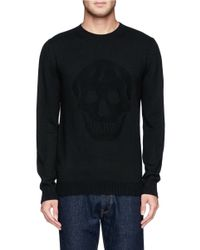 Alexander McQueen | Black Skull Jacquard Wool Sweater for Men | Lyst