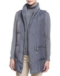 Lafayette 148 New York | Gray Adora Zip-Front Down Vest | Lyst