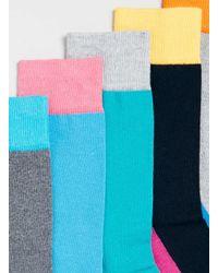 TOPMAN - Multicolor Contrast Panel 5 Pack Socks for Men - Lyst