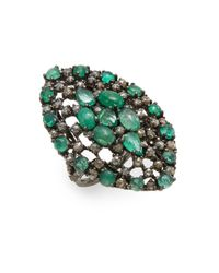 Bavna - Green Champagne Diamonds, Emerald & Sterling Silver Ring - Lyst