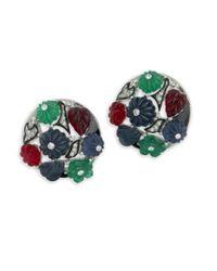 Kenneth Jay Lane | Green Tutti Frutti Art Deco Clip Earring | Lyst