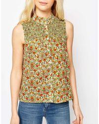 ASOS - Metallic Sleeveless Blouse In Ditsy Print With Shirring Detail - Lyst
