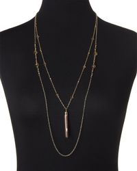 Cara - Black Gold-Tone & Brown Tassel Necklace - Lyst