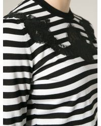 Dolce & Gabbana - Black Lace Detail Striped Top - Lyst