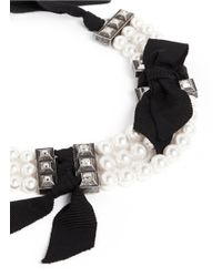 Lanvin | White Faux Pearl Grosgrain Ribbon Choker Necklace | Lyst