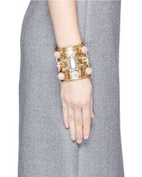 J.Crew | Multicolor Wide Crystal Cuff Bracelet | Lyst