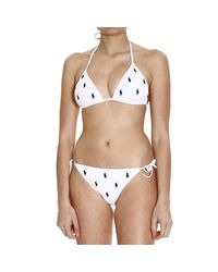 Ralph Lauren Blue Label - White Swimwear Bikini Triangle Multipony - Lyst