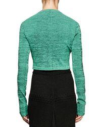 Proenza Schouler - Green Heathered Long-sleeve Crop Top - Lyst