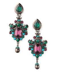 Jose & Maria Barrera - Green Teal Drop Earrings - Lyst