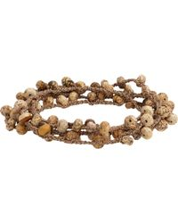 Feathered Soul | Natural Jasper Bead & Braided Silk Wrap Bracelet for Men | Lyst