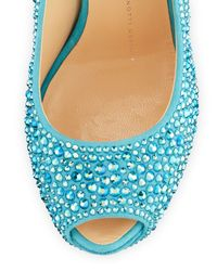 Giuseppe Zanotti | Blue Pazzia Crystal Ankle-Strap Wedge | Lyst