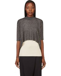 3.1 Phillip Lim - Gray Black Layered Metallic Sweater - Lyst