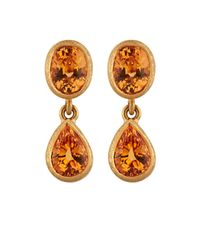 Malcolm Betts | Multicolor Orange Garnet Double-drop Earrings | Lyst