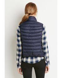 Forever 21 | Blue Puffer Vest | Lyst