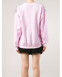 Alexis Mabille - Pink Embellished Cotton-Blend Sweatshirt - Lyst