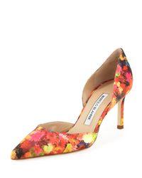 Manolo Blahnik - Multicolor Tayler Floral Sateen Dorsay Pump - Lyst