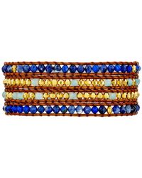 Chan Luu - 32' Blue Mix/natural Brown Wrap Bracelet - Lyst
