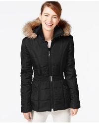Rampage | Black Faux-fur-trim Belted Puffer Coat | Lyst