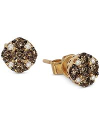 Le Vian | Brown Chocolate And White Diamond Stud Earrings (1/2 Ct. T.w.) In 14k Yellow Gold | Lyst
