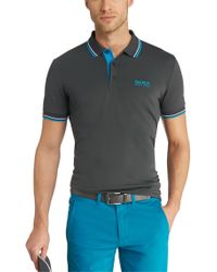 BOSS Green | Blue Regular Fit Piqué Golf Polo Shirt 'paddy Pro' for Men | Lyst