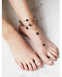 Free People | White Ariel Pearl Anklet | Lyst