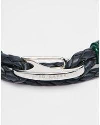 Ted Baker | Metallic Plaited Wrap Leather Bracelet for Men | Lyst