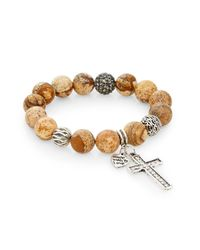Cara - Natural Jasper Bead Cross Charm Bracelet - Lyst