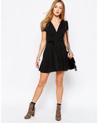Glamorous   Wrap Front Tea Dress - Black   Lyst