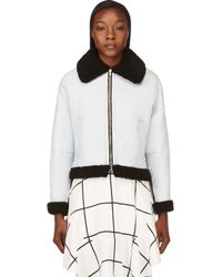 3.1 Phillip Lim - White Ice Blue and Black Shearling Aviator Bomber Jacket - Lyst