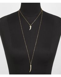 Express | Metallic Hilo Pave Horn Pendant Necklace | Lyst