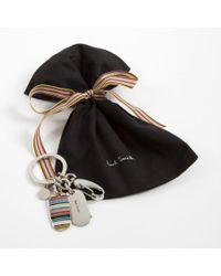 Paul Smith - Metallic Signature Stripe Ps Tags Keyring for Men - Lyst