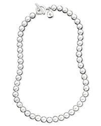 """Lauren by Ralph Lauren - Metallic 16"""" Silver-Tone Metal Bead (8 Mm) Necklace - Lyst"""