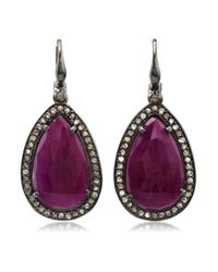 Bavna - Red Silver Earring With Champagne Rose Cut Diamonds And Glass Filled Ruby - Lyst