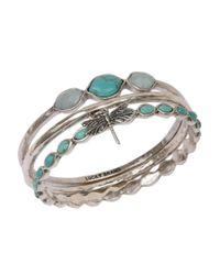 Lucky Brand | Blue Silvertone And Faux Turquoise Three Bangle Set | Lyst